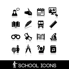 School icons set. Education symbols.