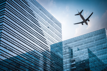 futuristic building with airplane