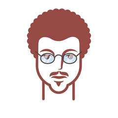 curly head with a mustache and glasses