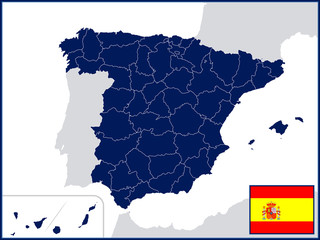 Provinces of Spain with Flag and Badge