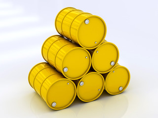 сhemical yellow barrels