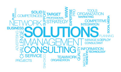 Solutions management consulting network word tag cloud image