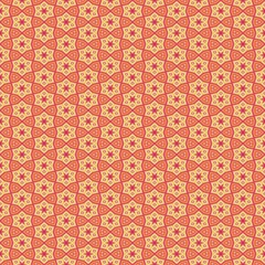Red orange abstract kaleidoscope mosaic with star shapes.