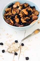 Blue plate with dried apples and berries and a spoon of oatmeal