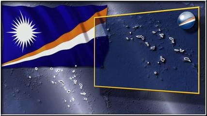 Marshall Islands flag and map animation