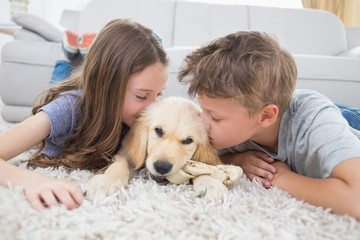 Siblings kissing puppy on rug