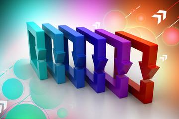 Multi colored arrow square