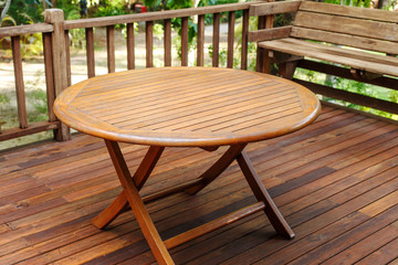 Teak wood table stand on the terrace