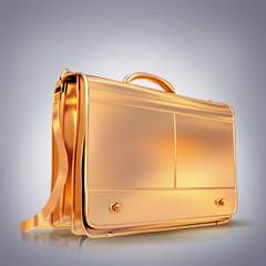Beautiful golden briefcase representing