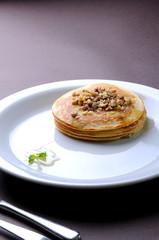 pancakes on white plate