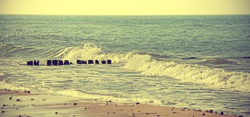 Vintage Retro Styled photo sea background.