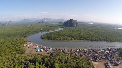 Aerial View: Mangrove Forest in Krabi Province, Thailand