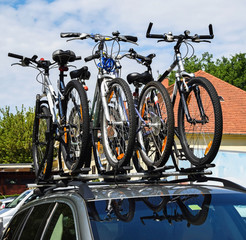Bicycles on the top of a car