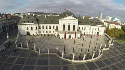 Camera flying above presidential palace in Bratislava
