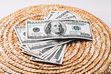 Money on Wicker surface