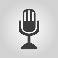 The mic icon. Microphone symbol. Flat