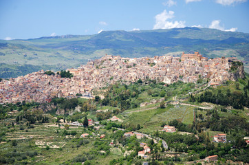 Sicilian town on the top of a hill