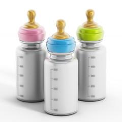 Baby bottles with milk