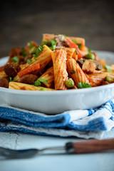 Gemüsepasta mit Sojafleisch