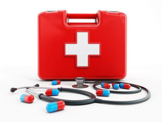 First aid kit, stethoscope and pills