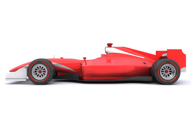 Formula race red car. Side view