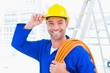Confident repairman wearing hard hat while holding wire roll - 78836455