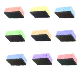 Set Colored Sponge for Washing Dishes Isolated