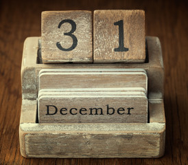 A very old wooden vintage calendar showing the date of 31st  Dec