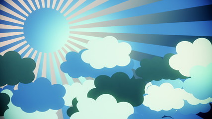 Abstract sunburst in blue with clouds