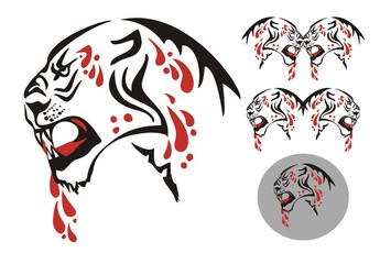 Tribal big cat with an open mouth and blood drops