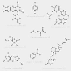 Skeletal formulas of vitamins