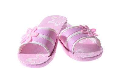 Pink Rubber flip flops. Isolated