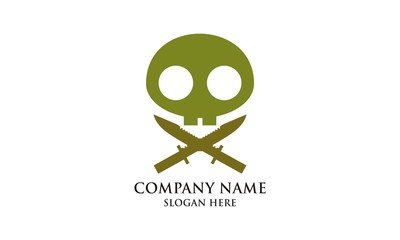 Green Pirate Cross Icon Logo Vector