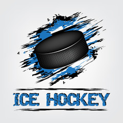 Ice hockey background with puck and grunge effect