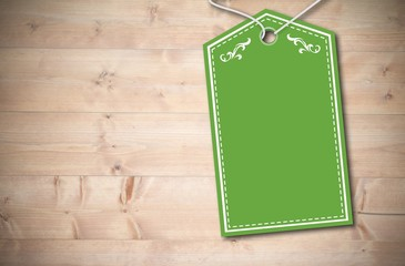 Composite image of elegant green tag