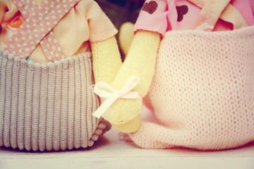 Händchen halten - Stoffhasen
