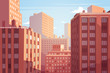 Sunset cityscape. Vector illustration. - 78838658