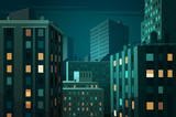 Fototapety Night cityscape. Vector illustration.