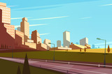 Fototapety Cityscape with highway. Vector illustration.