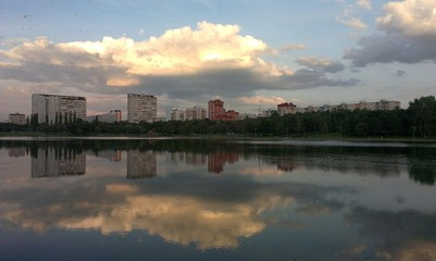 Pond in Moscow with reflections