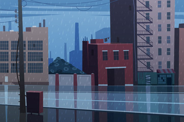 Rainy cityscape. Vector illustration.