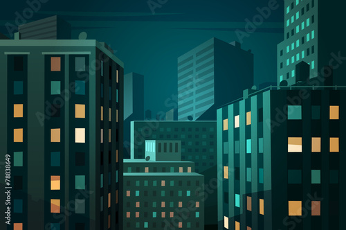 Night cityscape. Vector illustration. - 78838649