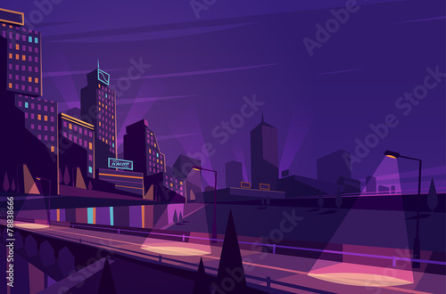 Fototapeta Night cityscape. Vector illustration.