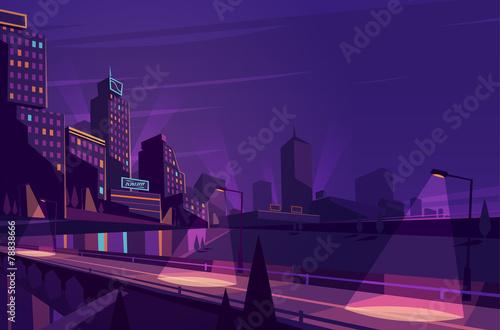 Night cityscape. Vector illustration. - 78838666