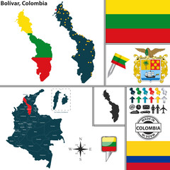 Map of Bolivar, Colombia
