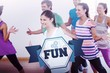 The word fun and cheerful fitness class