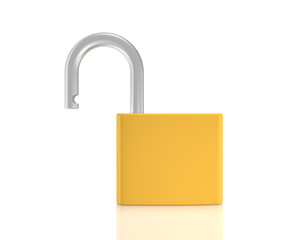 Unlocked padlock  isolated on white background