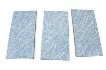 Blue ceramic tiles isolated on white