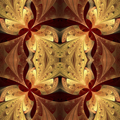 Symmetrical pattern in stained-glass window style. Brown and bei