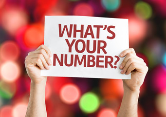 What's Your Number? card with colorful background